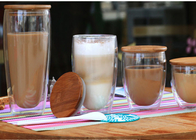 Hand Made 450ml Double Wall Glass Water Cup With Wood Lid For Coffee